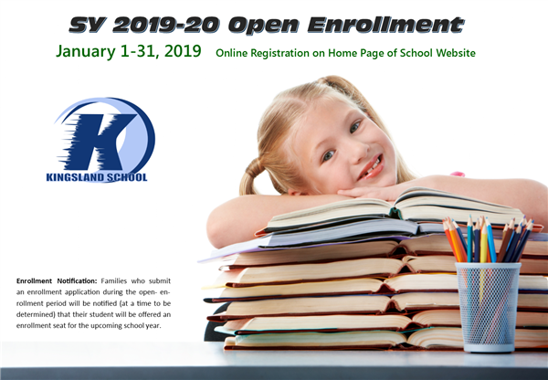 open enrollment icon with girl next to stack of books.